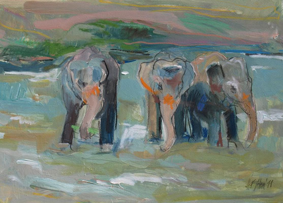 Sri Lanka Elefanten in Pinawela 50x65 cm Mischtechnik / Papier
