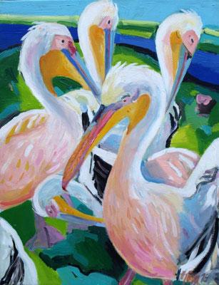 Pelikane 130x100 cm Acryl / Lwd