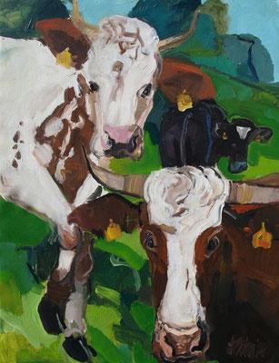 Drei Kühe  130x100cm Acryl / Leinwand