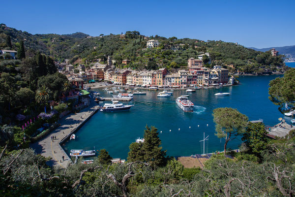 Portofino. About three to four hours to walk. There is a small restaurant on half of the way: Don't eat the rabbit! Take the Pasta.