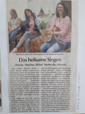 Heilsames Singen in Ast. 2018.