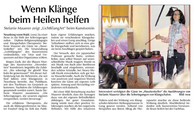Vortrag beim Kunstverein Unverdorben in Neunburg. 2016.