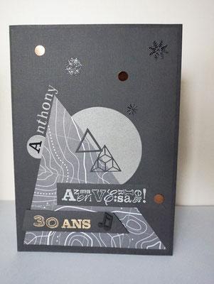 carte géante 30 ans personnalisée, montagne, musique, graphique, cuivre