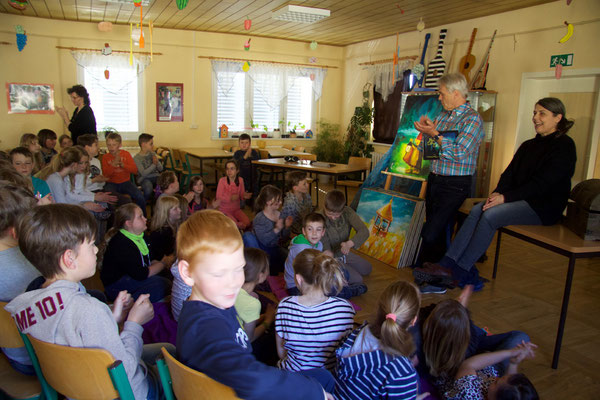Märchenlesung in der Grundschule in Rückersdorf/Thüringen