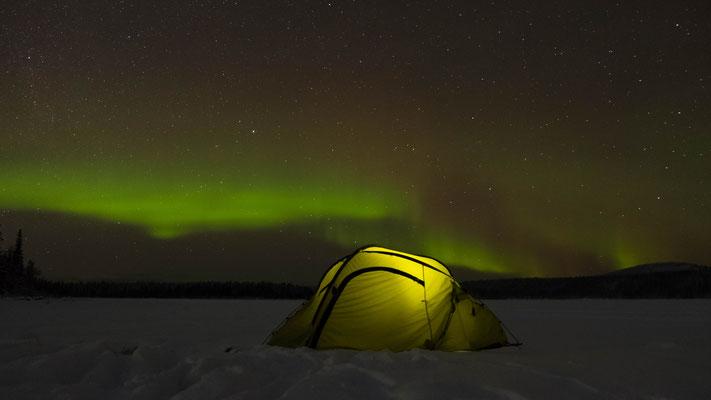diffuses Polarlicht wie es fast täglich bei wolkenlosem Himmerl zu sehen ist. Kp ~ 2