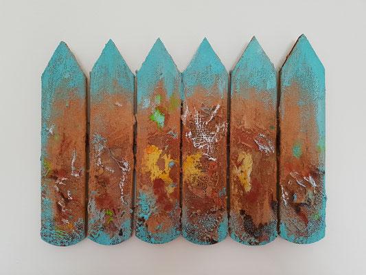 Traces, 41x30cm, Mix auf Holz, 2020