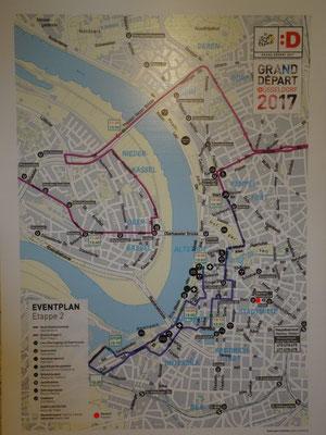 Der Streckenplan der 2. Etappe innerhalb von Düsseldorf