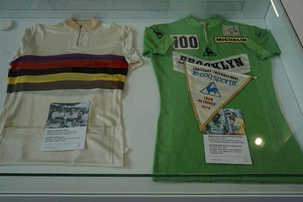 Ein grünes Trikot der TdF (Sprintwertung) und ein Weltmeistertrikot