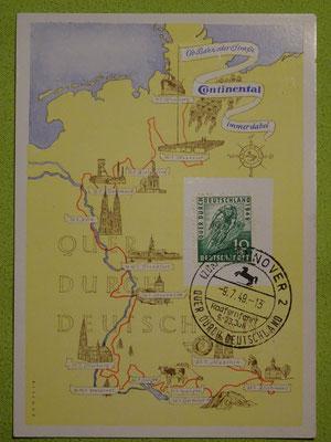 """Postkarte mit 10 Pfennig-Sondermarke anlässlich  der 1949er Rundfahrt """"Quer durch Deutschland"""""""