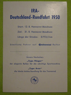 Auf der Rückseite ist schon die Ankündigung der 1950er Auflage