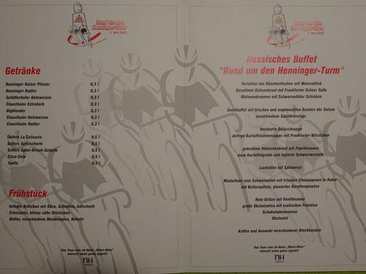 """Die """"spezielle"""" Speisekarte zum Rennen 2003"""