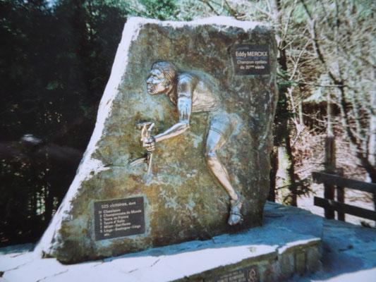 Das Denkmal für den Kannibalen - Eddy Merckx - oberhalb der Cote de Stockeu