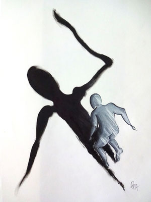 Über meinen Schatten springen (Copic, Tusche 59,5 x 42)