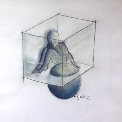 """Triptychon """"Die Welt und ich"""": """"Aufbruch"""" (Bleistift, Pastellkreide 32 x 32)"""