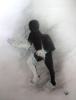 Grenzgänger (Copic, Bleistift, Pastellkreide, Lackstift 59,5 x 42)