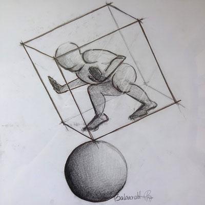 """Triptychon """"Die Welt und ich"""": """"Balanceakt"""" (Bleistift, Pastellkreide 32 x 32)"""