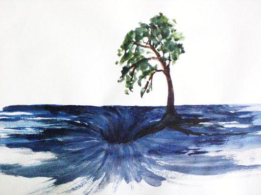 Abgrund (Aquarell 40 x 24)