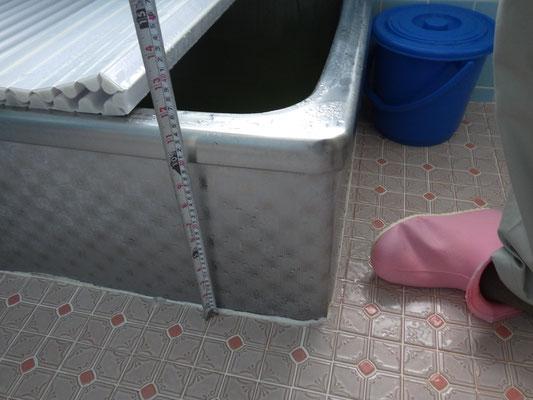 浴槽と洗い場の段差も高さを調整します。