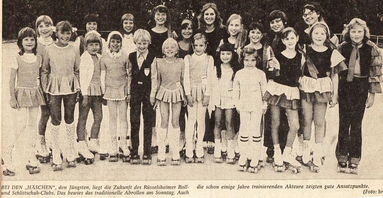 Unsere Häschen: So nannte der Verein den Nachwuchs seiner Rollkunstlaufabteilung.