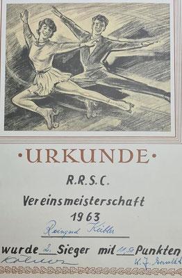 Rollkunstlauf-Urkunde von Reingard Radtke geborene Kübler.