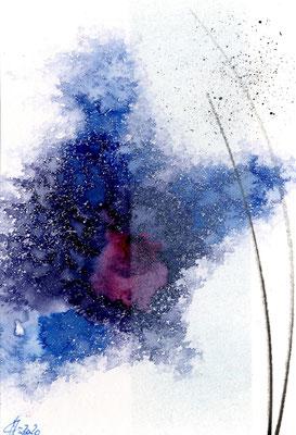 Variation in Blau III- Bütten-Acryl 50x40