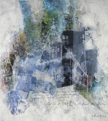 Schloss Almoshof -Collage in Acryl - Leinwand 60x60