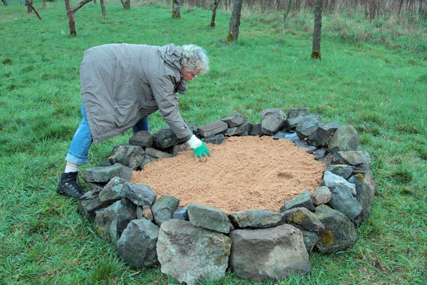 Grober Sand als Oberschicht zur Eiablage