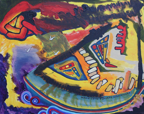 Das Feuersturmboot - Symbiosemalerei mit Joseph Schachinger