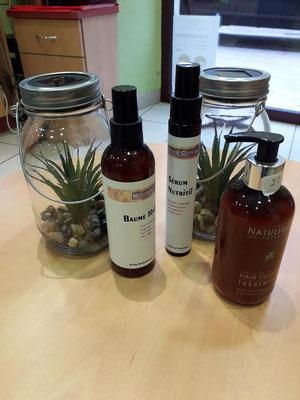 Natulique masque avec pure soie et  Naturel concept : - sérum nutritif 26€ ; argan et tournesol  - baume hydratant 24€ ; acide hyaluronique, protéines de blés