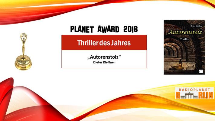 """Urkunde """"Thriller des Jahres –Autorenstolz"""""""