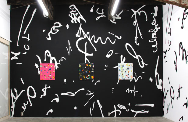 解放への図面 / drawing of liberation 2015 house hold paint on wall 487 x 345 cm
