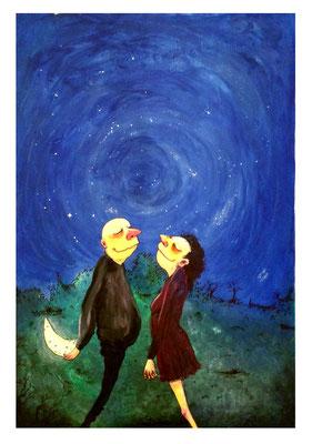 """""""J'irai décrocher la lune et me teindre en rousse"""" 320 euros Acrylique  50x75 cm"""