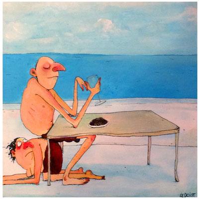 """""""C'est ça les vacances"""" Acrylique 30x30cm"""