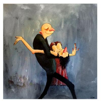 """""""Qui mène la danse ?"""" 680 euros Acrylique 80x80cm"""