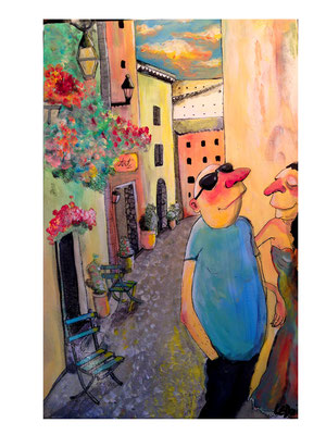 """Le village de Mougins"" Acrylique 40x30cm"