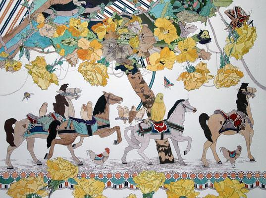 メリーゴーラウンド 2006年 紙、インク、顔彩 50cm×65cm