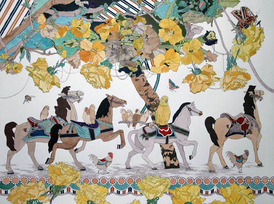 メリーゴーラウンド 2006年 インク、顔彩、紙 50cm×65cm
