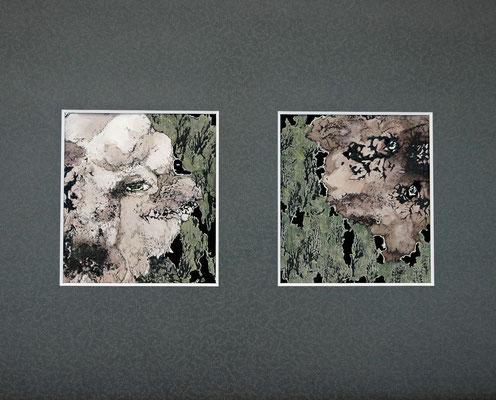 みてる 2015年 アクリル、インク、紙 (各)15cm×13.5cm