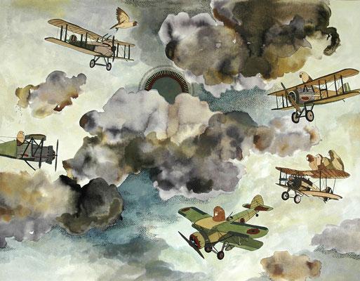 羽を使わず飛ぶ方法 2006年 紙、インク、顔彩 50cm×65cm