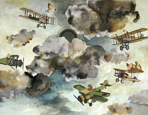 羽を使わず飛ぶ方法 2006年 インク、顔彩、紙 50cm×65cm