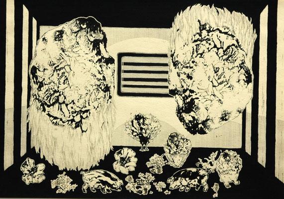 人形芝居、その内幕 2014年 インク、アクリル、紙 25cm×36cm
