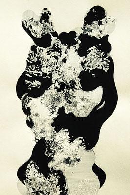 幻影 204年 インク、アクリル、紙 36cm×25cm