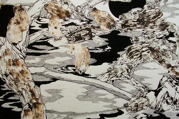 かくれみの 2004年 紙、油絵具、インク 39cm×54.5cm