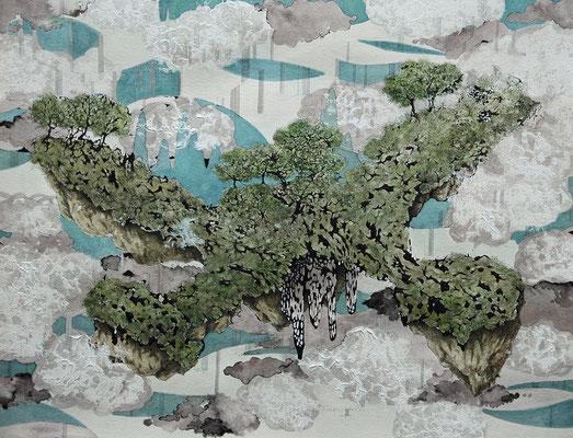 みどりの島 2012年 アクリル、インク、紙 31.7cm×41cm