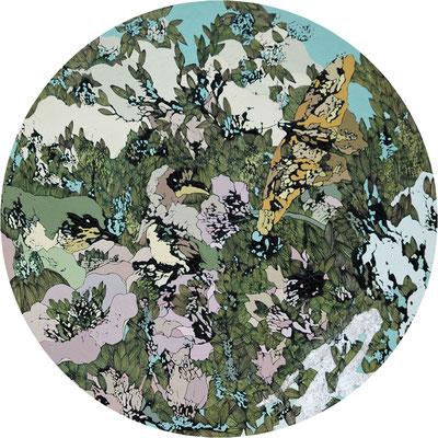 春の球体 2016年 木、アクリル、インク 円直径30cm