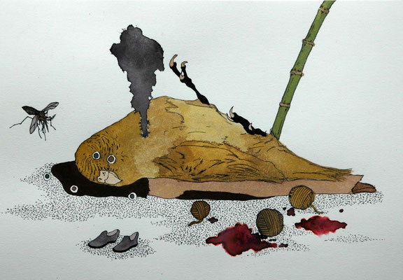 竹藪にて 2006年 紙、インク、顔彩 15.8cm×22.7cm
