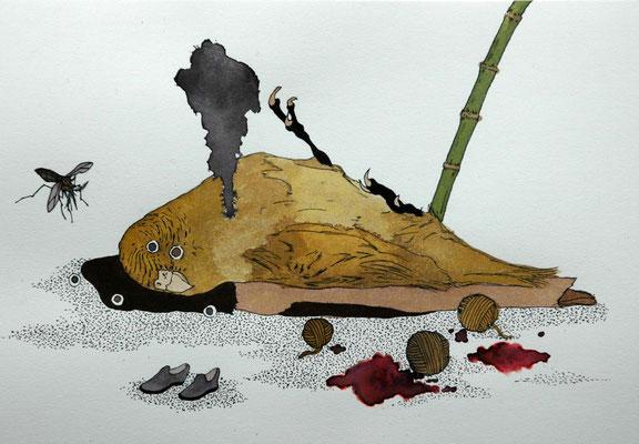 竹藪にて 2006年 インク、顔彩、紙 15.8cm×22.7cm