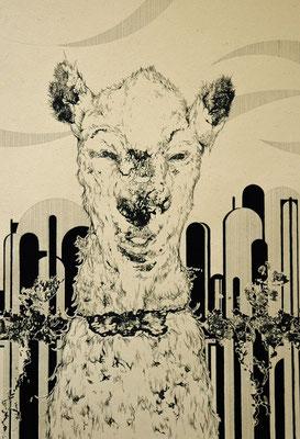 首輪をつけてね(ヤギ) 2014年 インク、アクリル、紙 36cm×25cm