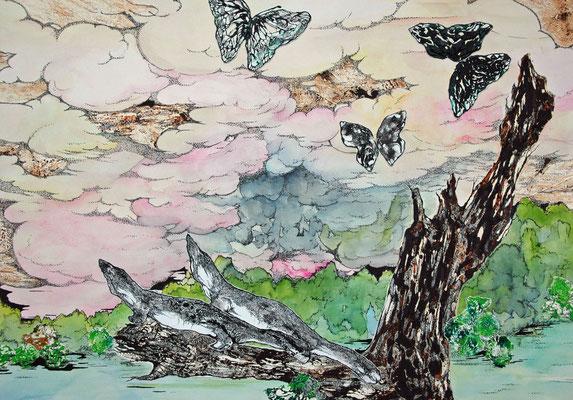 2匹のワニと蝶 2005年 油絵具、水彩絵具、コラージュ、紙 39cm×54.5cm