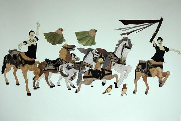 「いきましょう」 2006年 インク、顔彩、紙 55cm×78.5cm